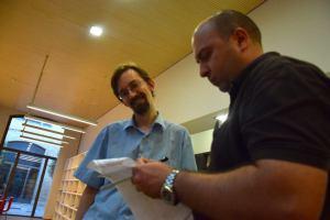 El autor preparando una reunión de Toastmasters